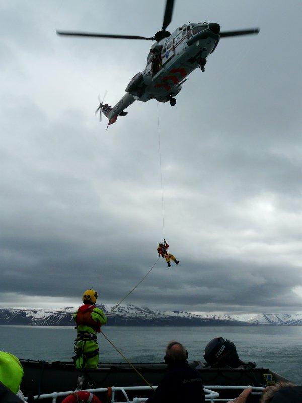 Rescue drill aboard Langöysund near Barentsburg