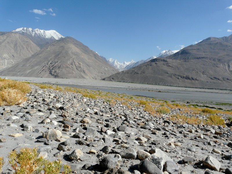Panj river with Hindu Kush in the background