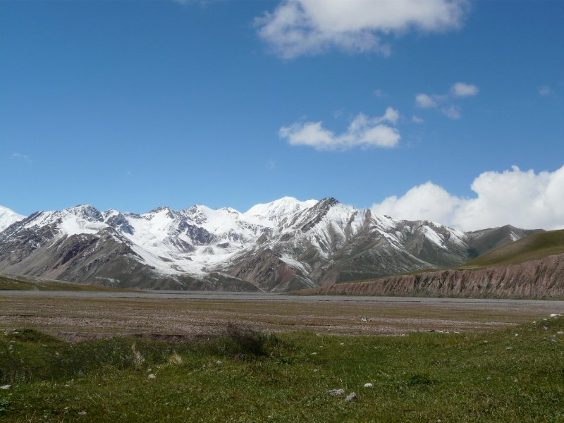 The pamirs seen from the Tajik-Kyrgyz border