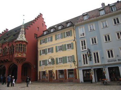 Freiburg hauses at opposite of cathedral