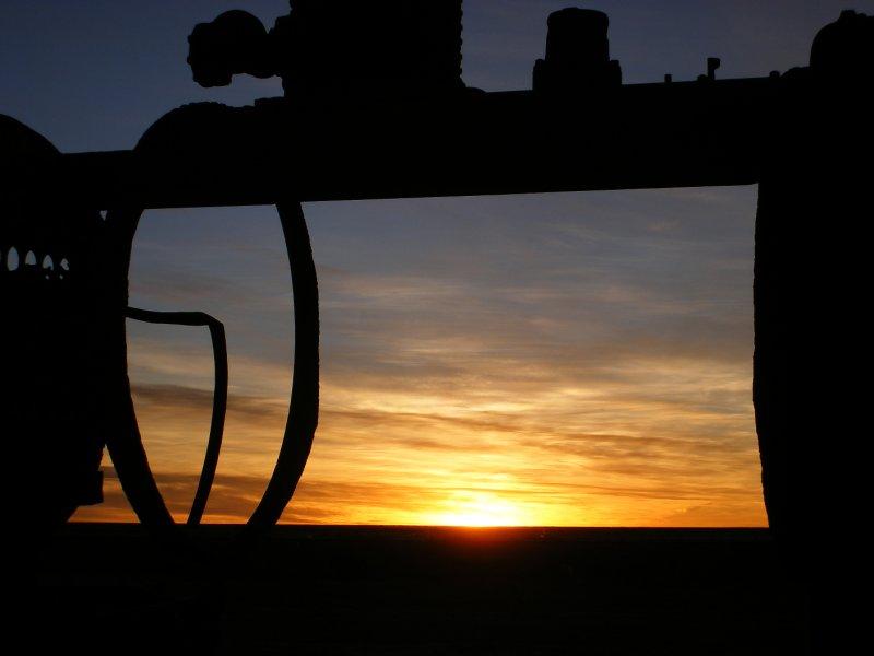 Sunset, train cemetary