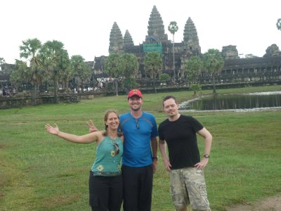Sara, Mike, and our buddy Oevind- siem reap