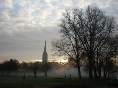 River mist with rising Spire