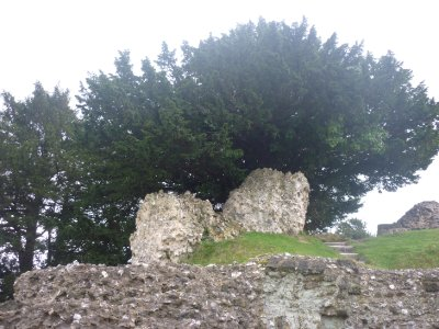 Ruined old sarum castle walls
