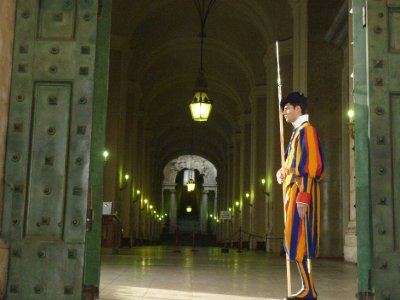 Swiss guard at bronze door