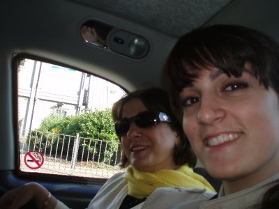 Mom and I in the cab