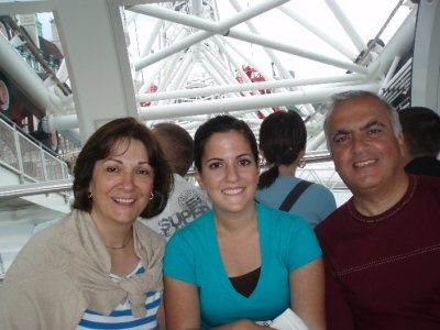 Mom, Dad, and Annie on the London Eye