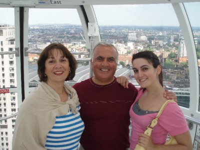 Mom, Dad, and me on the London Eye