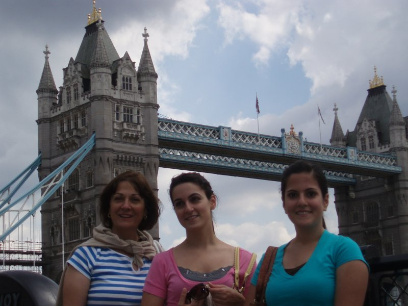 Mom, Annie, and me in front of Tower Bridge