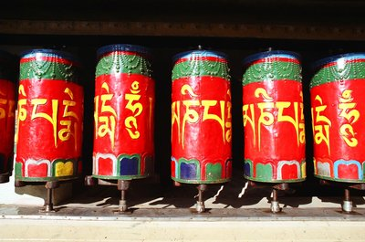 Colourful prayer wheels at the temple in McLeod Ganj