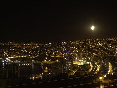 Full moon rising over Valparaiso