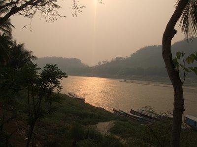 Sunset over the Mekong at Luang Prabang
