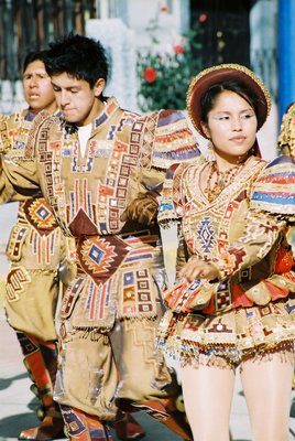 Dancers in a parade in Huaraz