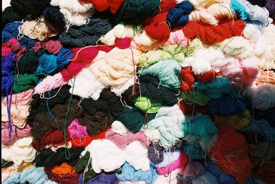 Otavalo market wool stand
