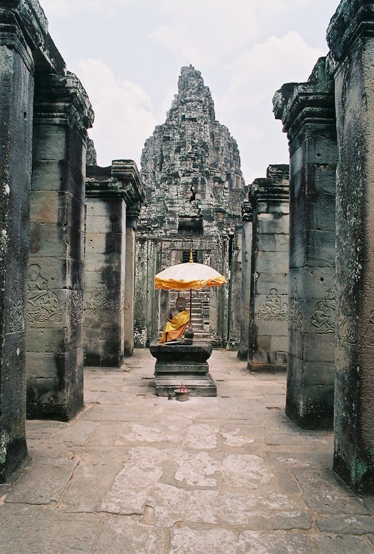 Cambodia, Bayon, Dressed Buddha