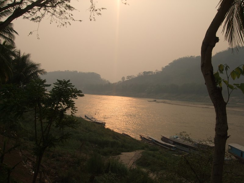 Sunset over the Mekong at Luang Prabang