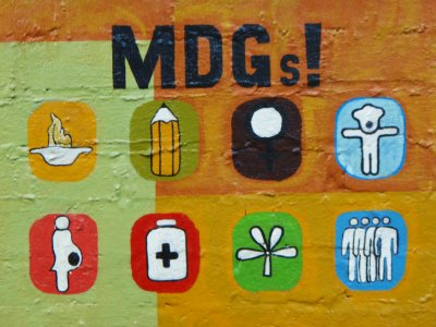 Millenium Development Goals painting by roadside