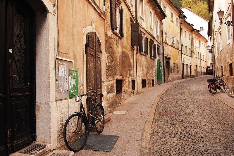 Side street with a bike