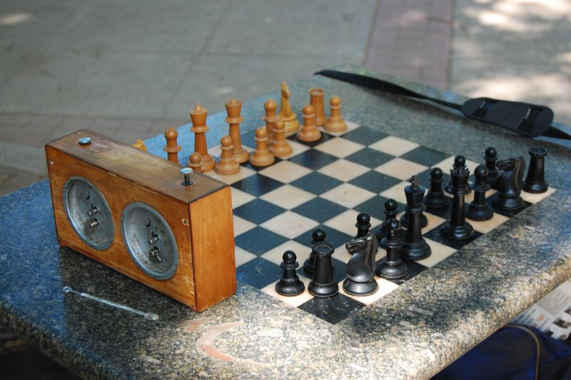 Chess set in the park