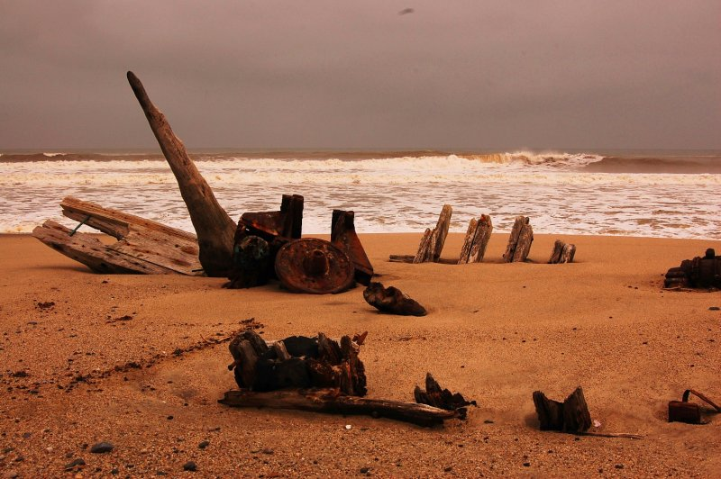 Remains of a shipwreck at Skeleton Coast
