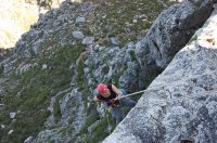 Abseiling down Table Mountain