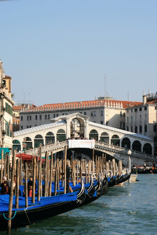 Gondolas in front of the bridge
