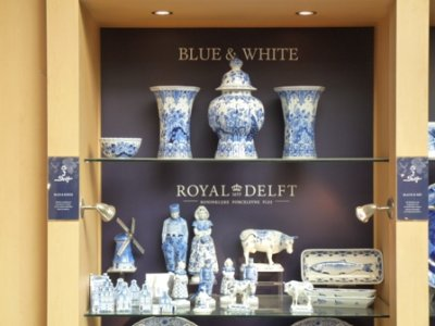 Delft Blauwe (blue Delft) in the Royal Delft shop, Delft