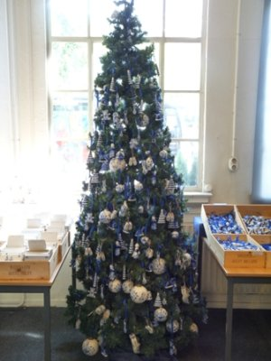 A christmas tree decorated with Delft pottery, Royal Delft shop, Delft