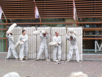 """Bedlam"", street theatre performed by five French actors in the city centre, Alkmaar"