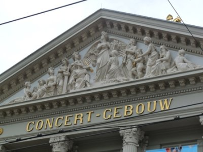 Detail on the facade of the Concert Gebouw concert hall, Amsterdam