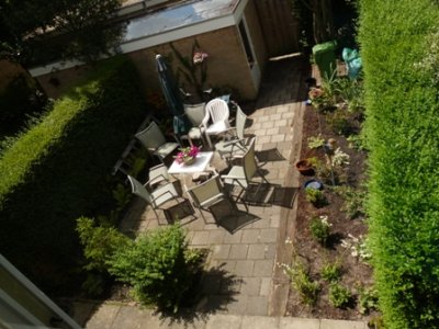 The back yard of the house Piet and Anita are renting, from the second floor