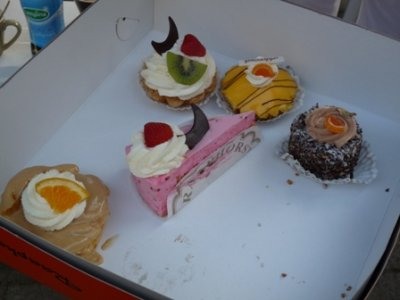A selection of gebakjes, fancy cakes bought from a bakery for special occaisions