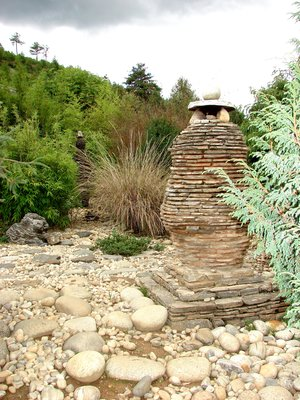 Chorten in Rock Garden, Royal Botanical Garden, Serbithang