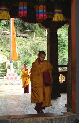 Monks entering Tango Goemba for mid-day prayers.