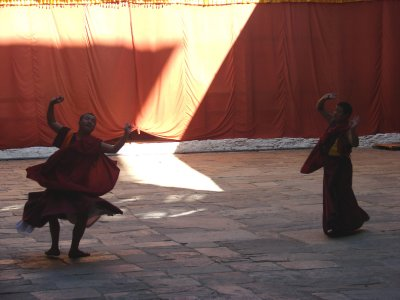 Monks practicing for th Jakar Tsechu