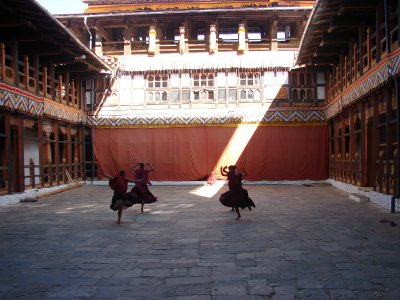 Monks practicing for the Jakar Tsechu