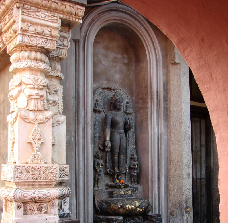 On the Mahabodhi Temple's outside wall