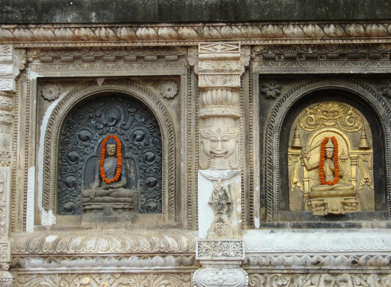On the Mahabodhi Temple's outside walls