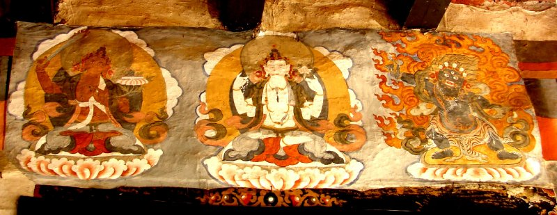 Paintings above the door to Shingkhar Lhakhang (temple)