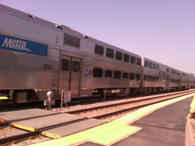 Double-decker train to Chicago