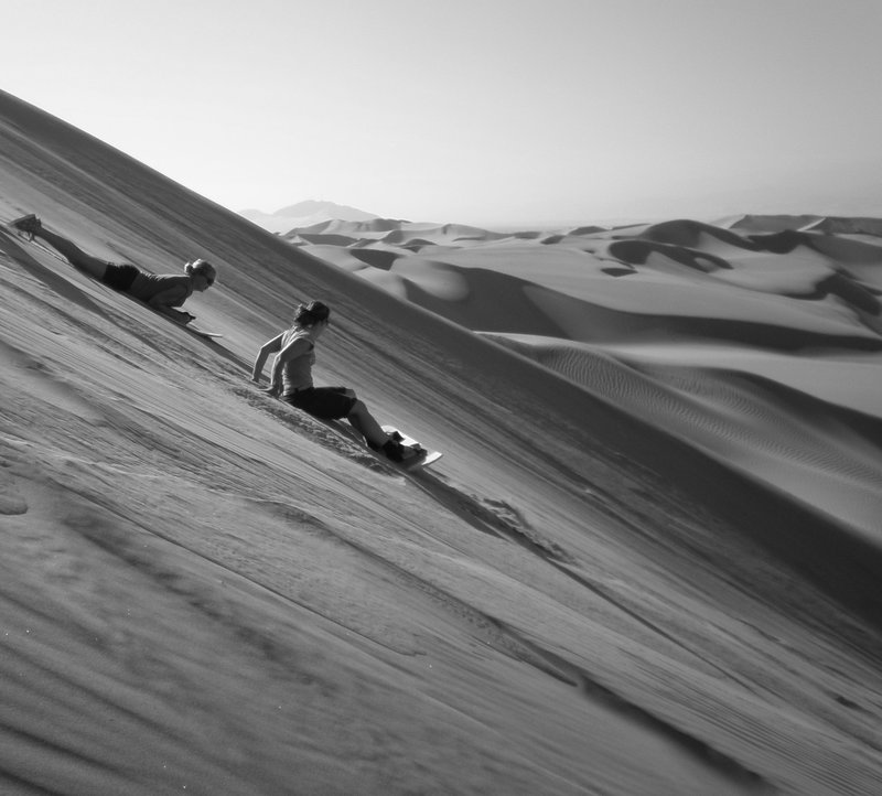 Sandboarding in the Peruvian desert