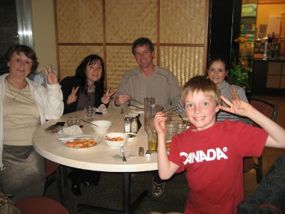 Cronsberry family at Chinatown restaurant