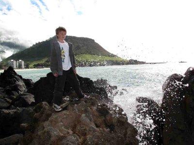 Maunganui Jack in surf spray