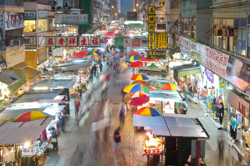bustling Hong Kong market by night
