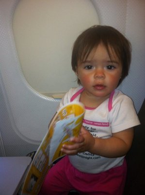 Ylla in the plane to Barcelona