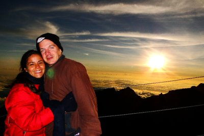 Us at sunrise on Mt. Kinabalu&#39;s top