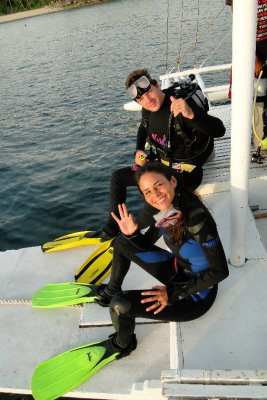 Us getting ready for the night dive, Malapascua