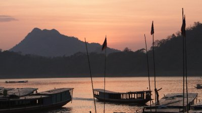 Sunset on arrival in Luang Prabang