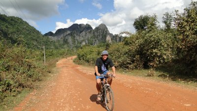 Jay biking to Nathong