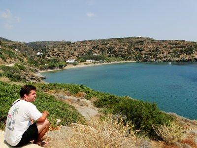 Jay overlooking Platis Gialos beach